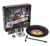 Игра 5 Game Set, набор: рулетка + 2 шарика + 4 кубика + 1 колода карт + 100 фишек + сукно 33 × 29 см