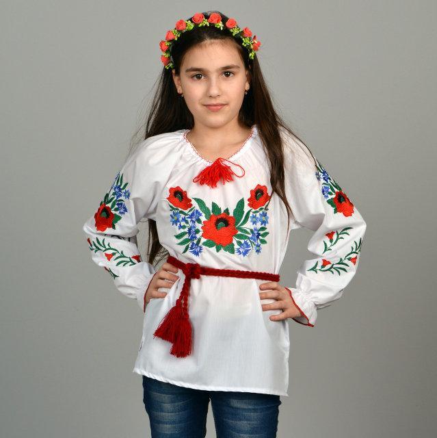 Сорочка вышиванка для девочки Волошки р. 98-140 см.