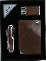 Подарочный набор 3 в 1: зажигалка/нож/визитница