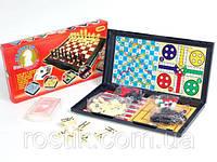 Настольная игра - набор 8в1 (шахматы, шашки, карты, домино, змейки и лесницы, тритрак, лудо и нарды)