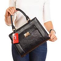 Черная сумка каркасная женская 1378lizard деловая