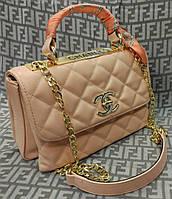 Модная сумка-клатч Chanel Шанель на цепочке цвет пудра
