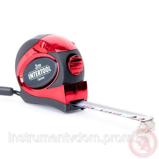 Рулетка INTERTOOL MT-0803 с автоблокировкой полотна и магнитами на зацепе (3 м х 16 мм)