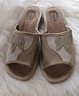 Тапочки кожаные домашние женские открытые, фото 1