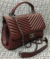 Модная сумка-клатч Chanel Шанель на цепочке бордовая