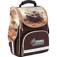 Каркасный школьный Кайт  рюкзак для мальчика 11л,ТАнки