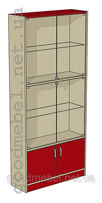 Стеллаж (шкаф), витрина со стеклянными дверями Ш-09