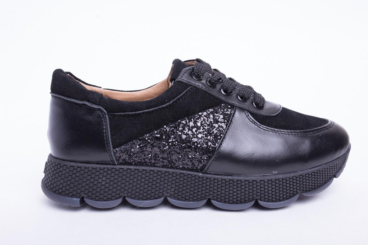 Кроссовки №374-14 черная кожа, черный замш + камни