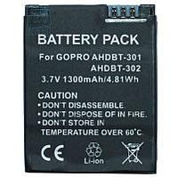 Аккумулятор AHDBT-301 для видеокамеры GoPro Hero 3 , Hero 3+, 1300 mAh.