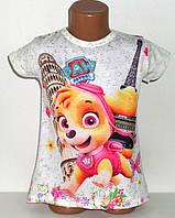 Яркая Детская футболка на девочку Щенячий патруль Турция Размеры 122, 128
