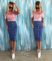 Юбка джинсовая и футболка из велюра