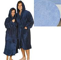 Махровый халат с капюшоном м.119-В ТМ Ярослав, голубой