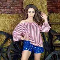 Летний легкий женский молодежный костюм с шортами,с обнаженными плечами Country