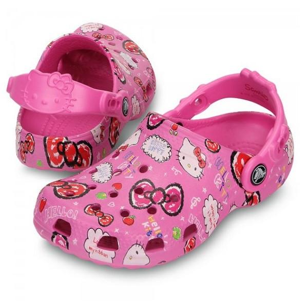 Кроксы для девочки Классик Хеллоу Китти / Сабо Crocs Kids' Classic Hello Kitty Good Times Clog