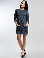 Платье из замши 2151 серо-голубое