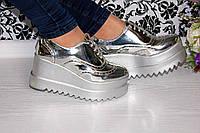 Женские туфли на платформе серебро