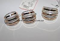 Набор серебряный с золотом и фианитами Бьянка