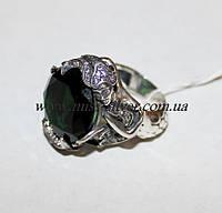 Женское кольцо Русалочка с зеленым камнем