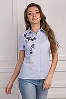 Молодежная блуза на лето в голубую полоску с вышивкой