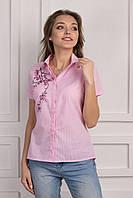 Офисная летняя блуза в мелкую полоску и вышитым цветком
