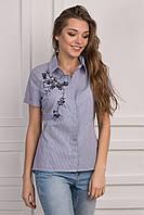 Синяя котоновая блуза с коротким рукавом на лето