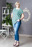 Блуза бирюзовая летняя с цветочным принтом