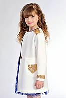 Нарядный детский кардиган для девочки, белого цвета, с пайетками. Размеры: 122-140