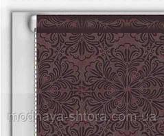"Тканевые рулонные шторы ""DecoLUX"" металлик принт (шоколад), РАЗМЕР 40х170 см"