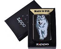 Зажигалка фирменная бензиновая Zippo Волк в подарочной упаковке №4734 + бензин очищеный 125мл.