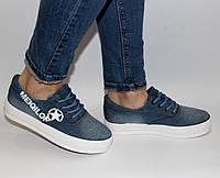 Женские  кеды на толстой подошве джинсовые