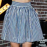 Женская джинсовая юбка-колокол в полоску