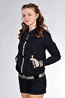 Весенняя подростковая куртка для девочки, черного цвета, в горошек. Размеры: 146-158