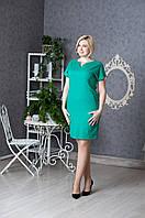 Красивое повседневое зеленое платье льняное
