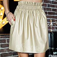 Женская юбка мини кожаная с карманами