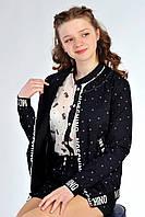 Модная подростковая куртка черного цвета с принтом moschino. Размеры: 146-158