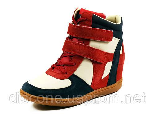 Сникерсы женские красные белые синие шнурок липучка