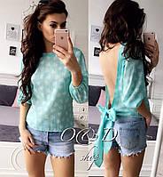 Блуза с открытой спиной и бантом