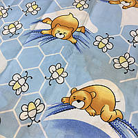 Бязь голубая с мишками на облаках, пчелами и сотами