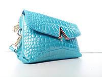 Голубая сумка 2в1  лаковая Croco