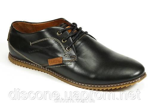Натуральные кожаные спортивные туфли черные мужские демисезон шнурок LC