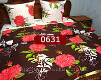 Постельное белье БЯЗЬ дорогая ГОЛД рисунок 3Д, красные розы на шоколаде 0631