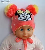 """Детская шапка для девочки """"Микки"""" р. 1-3 года, цв. коралл Микки"""