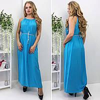 Длинное штапельное платье с оригинальным поясом