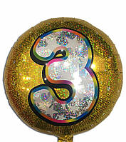 Шар Фольгированный 3 голограмма золото