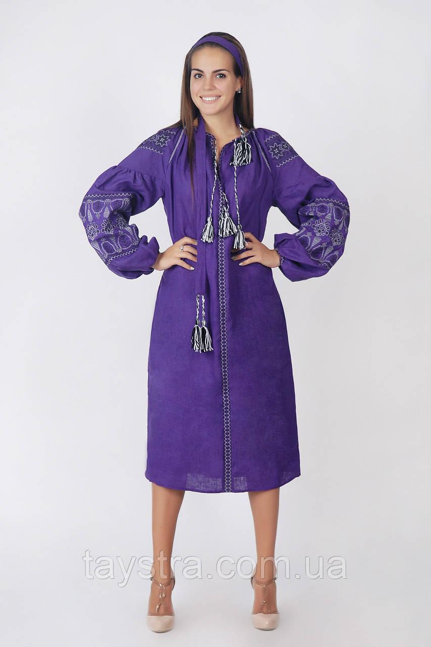 Вышитое платье лен бохо вышиванка 009332c96ca74