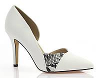 Белые женские туфли со стразами на шпильке Размеры 38-40