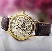 Кварцевые мужские часы скелетоны Geneva Gold