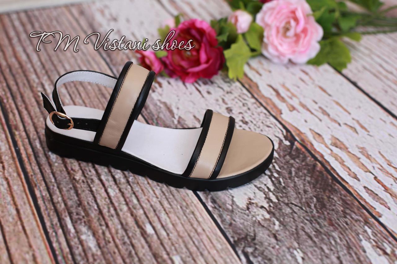 Босоножки женские кожаные на платформе, фабричная обувь. - Обувь
