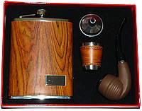 Подарочный набор 4 в 1: фляга/стопка/лейка/труба для курения