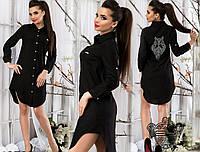Женская стильная рубашка-туника. Черная.